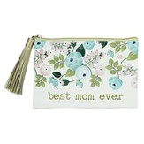 Best Mom Ever Zippered Pouch, Peach Floral