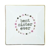 Best Sister Ever Ceramic Tray, White