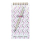 Best Sister Ever Spiral Notepad with Pen, Pink
