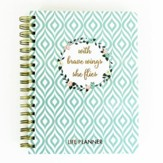 With Brave Wings She Flies Life Planner, Blue Trellis
