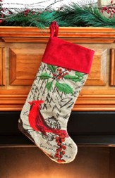 Cardinal, Burlap / Velvet Christmas Stocking