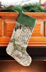 Deer, Burlap and Velvet Christmas Stocking, Green