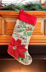 Poinsettia, Burlap Velvet Christmas Stocking