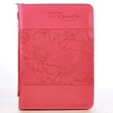 With God, All Things Are Possible Bible Cover, Pink, Large, Spanish