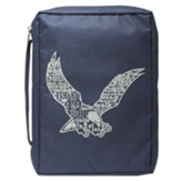 Eagle, Polyester Bible Cover, Navy, Large