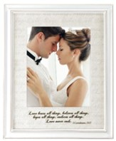 Love Bears All Things, 1 Corinthians 13:7, Wedding Photo Frame, White