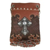 Fashion Cross Purse, Crossbody Light / Dark Brown