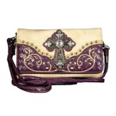 Fashion Cross Wallet, Beige, Purple