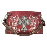 Fashion Cross Purse, Red, Beige