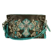 Fashion Cross Purse, Brown, Turquoise