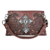 Fashion Cross Purse, Light Brown, Dark Brown