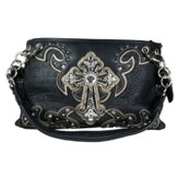 Fashion Cross Purse, Black, Pewter