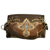 Fashion Cross Purse, Brown, Beige