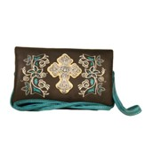 Fashion Cross Wallet, Brown, Turquoise