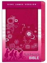 KJV Backpack Bible, Italian Duo-tone, Pink Graffiti - Imperfectly Imprinted Bibles