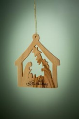 Olive Wood Nativity In Stable Ornament