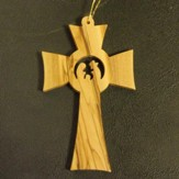 Cross Nativity Olive Wood Ornament