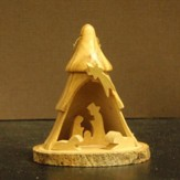 3D Tree Nativity Olivewood Ornament, Small