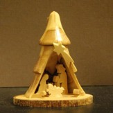 3D Tree Nativity Olivewood Ornament, Medium
