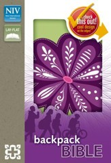NIV Backpack Bible, Imitation Leather, Lime Green with Purple Flower - Slightly Imperfect