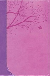 NKJV God Girl Bible--soft leather-look, pretty purple/berry pink with tree design