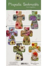 Floral Cross Magnetic Bookmarks, Pack of 6