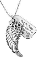 Cast Thy Burden Wing 2 with Cubic Zirconium, 18 Chain (Psalm 55:22)
