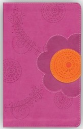 NIV Young Women of Faith Bible, Italian Duo-Tone, Raspberry/Clementine - Imperfectly Imprinted Bibles