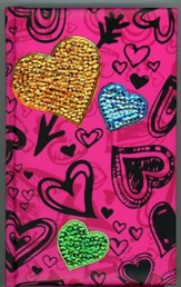 NIV Sequin Bible Hot Pink Hearts - Slightly Imperfect