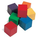 Wooden Color Cubes, Set of 100