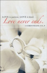 Love Never Ends Rings Wedding Bulletins (Package of 50)