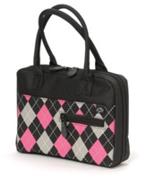 Black and Pink Argyle Bible Cover, Large