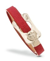 Buckle With Cross Leather Wrap Bracelet, Red And Silver