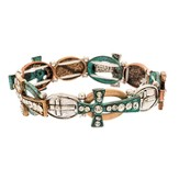 Cross With Crystals Tri Tone Stretch Bracelet, Patina Finish