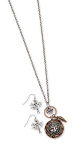 Tree Of Life Coin Style Necklace And Earring Set, Gold Finish