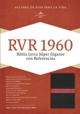 Biblia Letra Súper Gigante RVR 1960, Piel Fab. Negra/Roja   (RVR 1960 Super Giant Print Bible, Black/Red Bon. Leather)