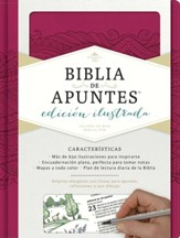 RVR 1960 Biblia de Apuntes Ed. Ilustrata, piel simil rosada (Notetaking Bible Illustrated Ed. Pink LeatherTouch)
