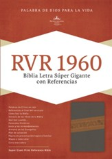 RVR 1960 Biblia Letra Súper Gigante, gris piel fabricada edición con índice, RVR 1960 Super Giant Print Bible, Brown Bonded Leather, Thumb-Indexed - Imperfectly Imprinted Bibles