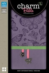 NIV Charm Bible--soft leather-look, lavender butterflies