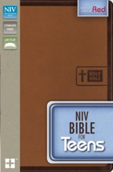 NIV Bible for Teens--soft leather-look, caramel