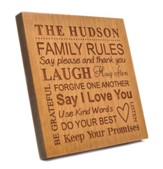 Personalized, Square Plaque, Family Rules, Cherry