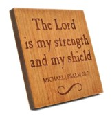 Personalized, Square Plaque, Lord Is My Shield, Cherry