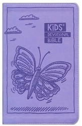 NIrV Kids Devotional Bible, Lavender Butterfly - Imperfectly Imprinted Bibles