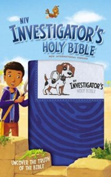 NIV Investigator's Holy Bible--soft leather-look, blue
