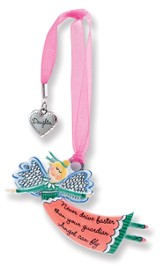 Never Drive Fast, Keepsake Angel with Daughter Charm, Pink