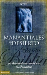 Biblia NVI Manantiales En El Desierto, Enc. Dura  (NVI Streams in the Desert Bible, Hardcover)