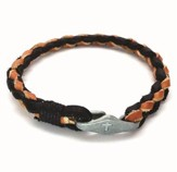 Cross Token Braided Leather Bracelet