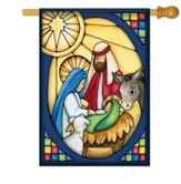 Stained Glass Nativity Flag, Large