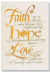 Faith Hope Love Christmas Cards, Pack of 20