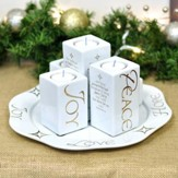 Ceramic Christmas Advent Tray With Pillar Candle Holders